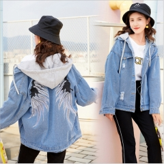 Women's Boyfriend Denim Jacket Loose Casual Jean Coat Autumn Winter Spring blue m