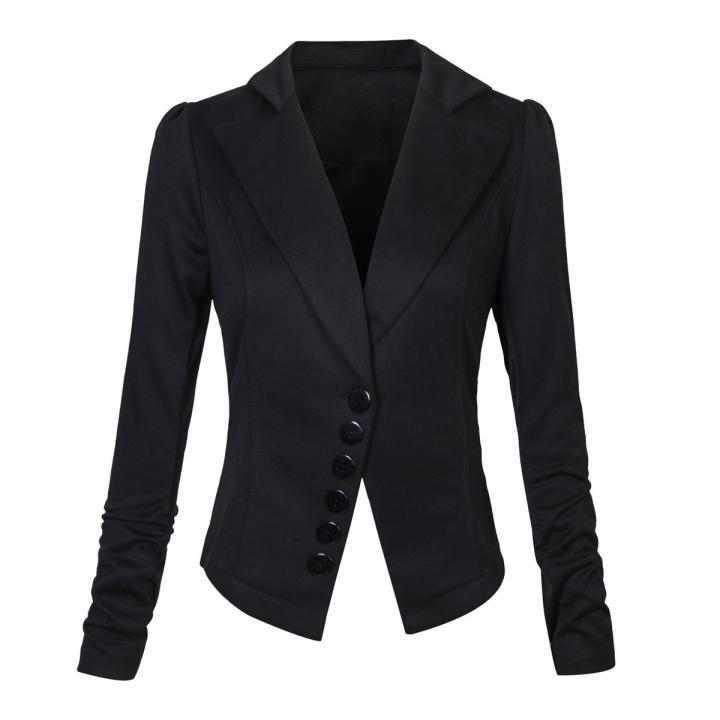 a1d1daf0f37 Long Sleeve Solid Color Casual Work Office Blazer Jacket for Women Girls  black l
