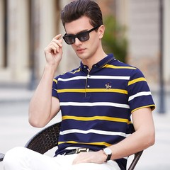 Men's short-sleeved shirt men's short sleeve men's shirts gerliovooe stripes lapel cotton men's fashion business