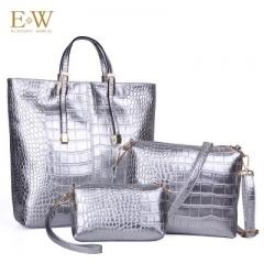 Elegant World Glitter golden autumn new crocodile print female bag Korean fashion three-piece set Silver regular