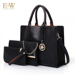 Elegant World New women's three-piece fashion trend PU women's bag Korean simple big bag Black regular