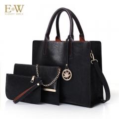 Elegant World New women's three-piece fashion trend PU women's bag Korean simple big bag Black regular