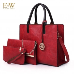 Elegant World New women's three-piece fashion trend PU women's bag Korean simple big bag Red regular
