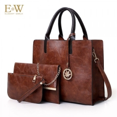 Elegant World New women's three-piece fashion trend PU women's bag Korean simple big bag Brown regular