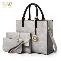 Elegant World New women's three-piece fashion trend PU women's bag Korean simple big bag Gray regular