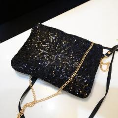 new fashion shiny clutch bag zipper evening party clutch bag ladies envelop pouch bag Black one size