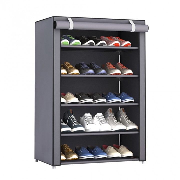 Non-Woven Fabric Shoes Rack Shoes Organizer Bedroom Dormitory Shoe Racks silver gray---5 layers