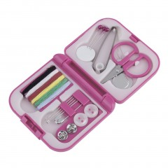 Portable Travel Sewing Kits Box Needle Threads Scissor Thimble Home Tools Pink 7*6.5*2cm