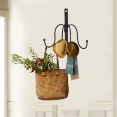 4 Hooks Clothing Hat Bag Hook Bathroom Robe Hooks Wall Hanger Mounted Product Black 155*60*140mm