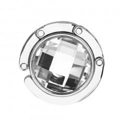 Portable Crystal Alloy Purse Holder Handbag Hook Foldable Hangbag Hook Silver+White