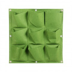 9 Pocket Vertical Hanging Planting Bags Seedling Wall Planter Growing Bags green