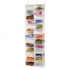 Shoe Rack Storage Organizer Holder Folding Hanging Door Closet 26 Pocket white