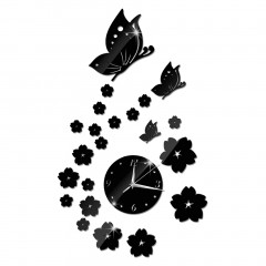 Mirror Wall Stickers 3D False Clock Butterfly Pattern Living Room Decoration black/silver 41 cm x 70 cm