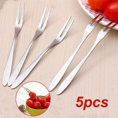 5pcs/set Fruit Fork Two Tooth Dessert Salad Stainless Steel Canteen Hotel silver 13cm