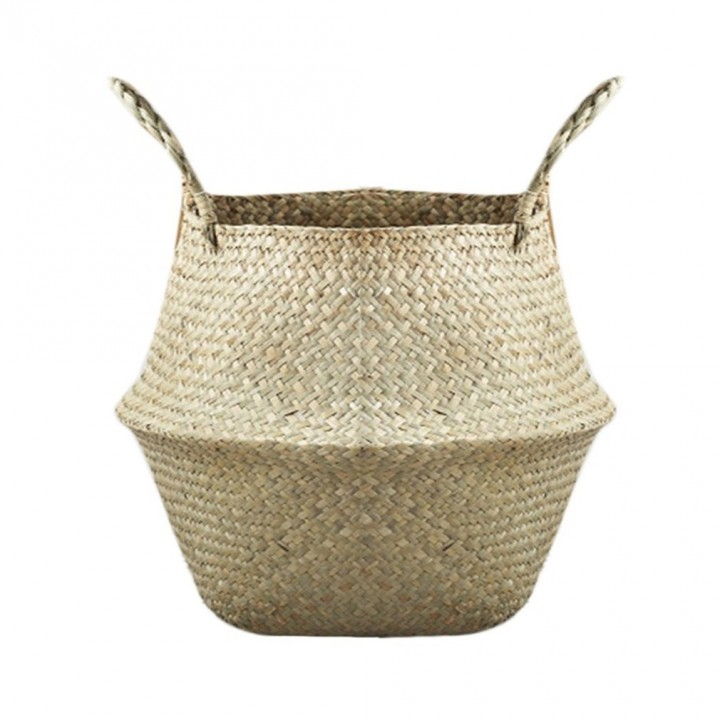 Compact Natural Seagrass Woven Storage Pot Garden Flower Vase Hanging Basket