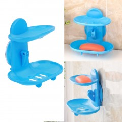 Creative Double Layers Soap Box Bathroom Soap Dish Sucker Holder Container Blue