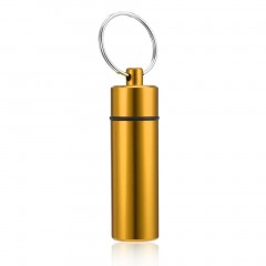 2PCS Waterproof Pill Shaped Aluminum Alloy Pill Drug Bottle Holder Container Keychain Random
