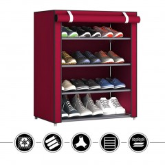 Non-Woven Fabric Shoes Rack Shoes Organizer Bedroom Dormitory Shoe Racks red---4 layers