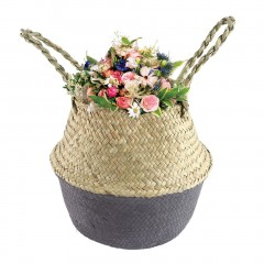 Foldable Seagrass Woven Flower Basket Handmade Planter Tote Belly Storage Bag