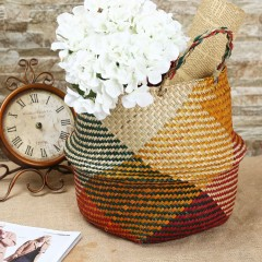 Foldable Seagrass Tote Belly Basket Mixed Color Home Planter Storage Organizer