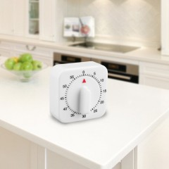 Square 60 Minute Mechanical Kitchen Cooking Timer Food Preparation Baking White 65*65*35mm