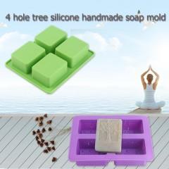 4 Cavity Rectangular Tree Shape Silicone DIY Molds For Handmade Soap Cake