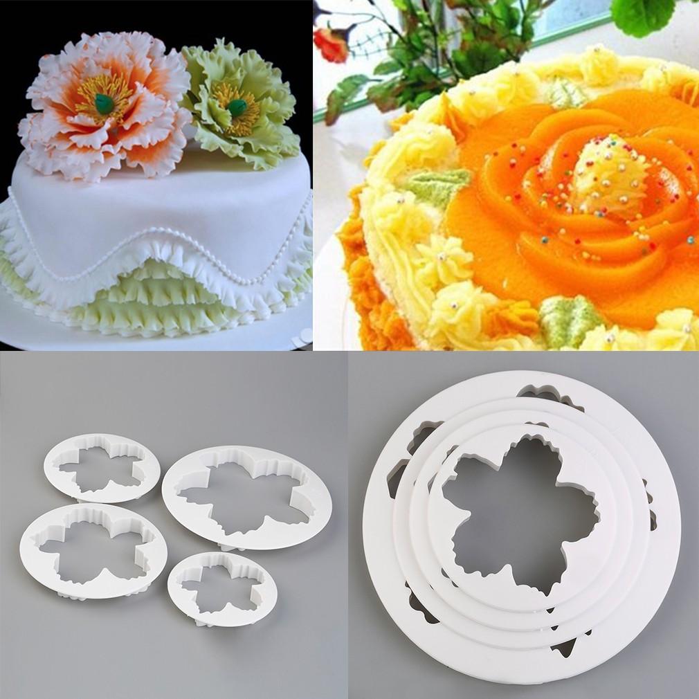 Kilimall White 4pcs Peony Petal Mold Cutter Flowers Cake Gum Paste