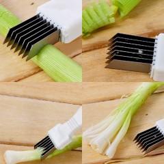 Stainless Steel Scallion Onion Vegetable Shredder Slicer Cutter Kitchen Gadget White approx. 15.8cm x 2.8cm x 1.5cm