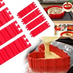 Nonstick 4Pcs Set Silicone DIY Cake Mold Baking Tools Kitchen Accessories Red 19*5.5cm