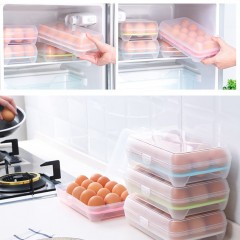 15 Grid Eggs Container Storage Kitchen Refrigerator Fresh Box Storage Case blue 25*15.5*7.2cm
