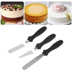 3pcs Stainless Steel Cake Angled/Straight Spatula Smooth Decorating Tools Black approx. 22cm x 1.9cm