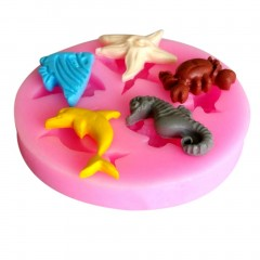 Pink Dolphin Crab Starfish Seahorse Angel Fish Silicone Cake Chocolate Mold Pink 55*55*10mm