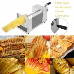 Manual Stainless Steel Twisted Potato Slicer French Fry Vegetable Cutter silvery 26.5*12*14cm