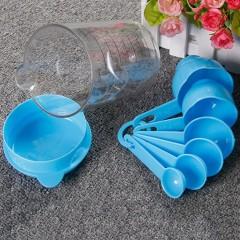 7Pcs/Set Plastic Baking Utensil Kitchen Measuring Cups Sugar Cake Baking Spoon blue approx.9*9*13.5CM