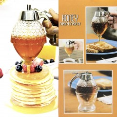 200ML Portable 1 Cup Bee Hive Acrylic Honey Syrup Dispenser Jar With Stand