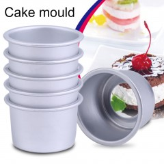5Pcs 2inch Round Mini Cake Pan Removable Bottom Pudding Mold DIY Baking Tools