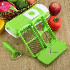 12pcs All in One Vegetable Slicer Food Preparation Station with Container&Lid