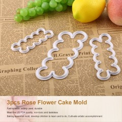 3 pcs/set Rose Flower Cake Molds Fondant Biscuit Cutter Cake Decorating Molds white 100 x 40 x 7mm