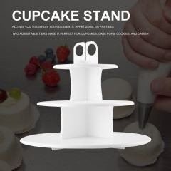 Kitchen 3-Layer Cake Pop & Cupcake Stand Safe Food Grade Plastic Cupcake Stand white 300*300*238mm