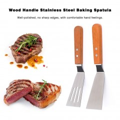 Wood Handle Stainless Steel Baking Spatula Durable BBQ Shovel Steak Turner