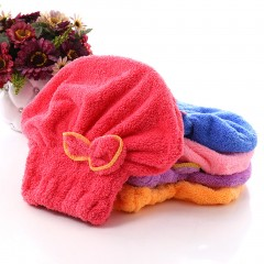 Lovely Bowknot Solid Hair Turban Quickly Dry Hair Hat Towel Head Wrap Hat