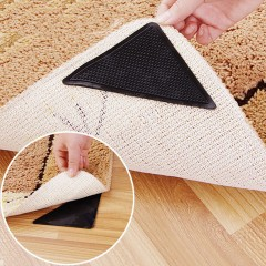 4 pcs Rug Carpet Mat Grippers Non Slip Anti Skid Reusable Silicone Grip Pads Black 14.5cm x 7.5cm