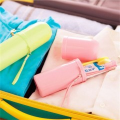 Portable Tooth Mug Toothbrush Holder Toothpaste Cup Travel Accessories pink Diameter: approx. 5.5cm