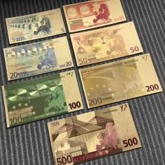 7PCS Gold Foil Euro Souvenir Currencies World Paper Money Currency Collections