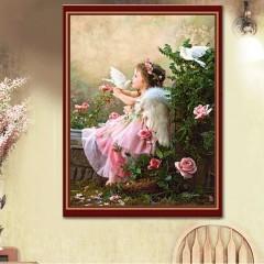 Cross Stitch Diamond Painting Home Decor Dove And Girl Pattern 40*30cm 6223