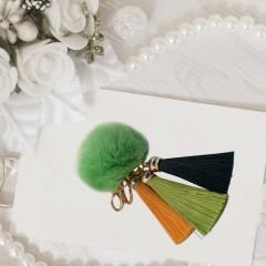 Novelty Lovely Rabbit'S Hair Ball Shape Keychain Pendant Key Ring With Tassel