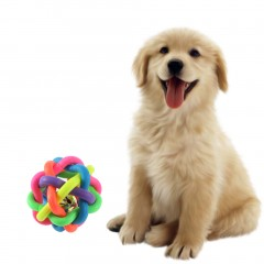 Colorful Pet Doy Chewing Ball Cat Rainbow Color Rubber Bell Sound Ball colorful approx 5.5cm