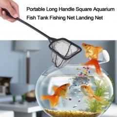 Portable Long Handle Square Aquarium Fish Tank Fishing Net Landing Net black 36*9cm