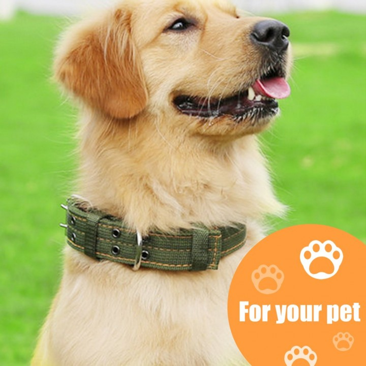 Dog Collar 4 Layer Thickened Nylon Pet Collar Double Breasted Dog Leash Lead