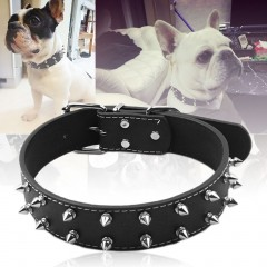Pet Puppy Dog Collar Adjustable Rivet Spiked Studded PU Leather Neck Strap